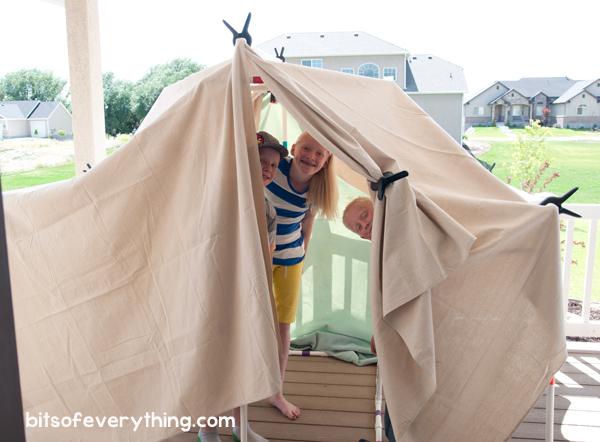 Cabana de acampamento com canos de PVC