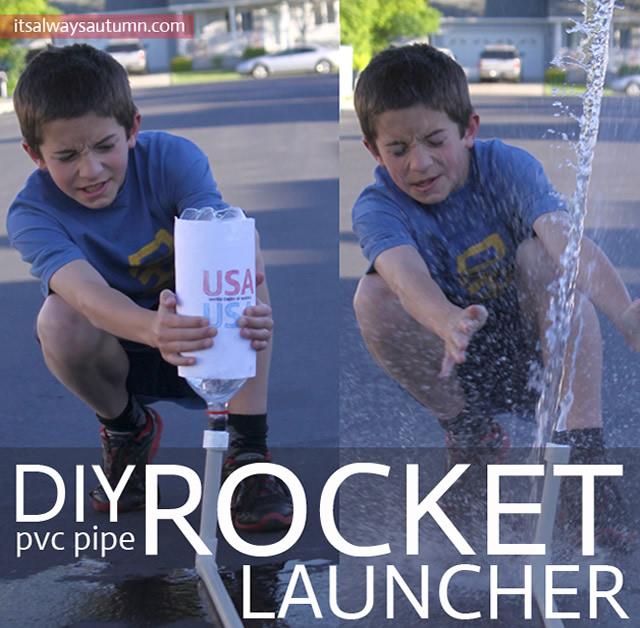 Lançador de foguetes com canos de PVC