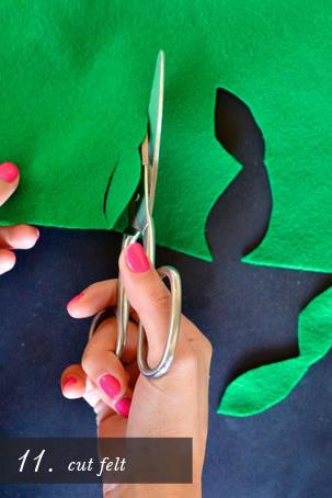 Corte folhas no feltro