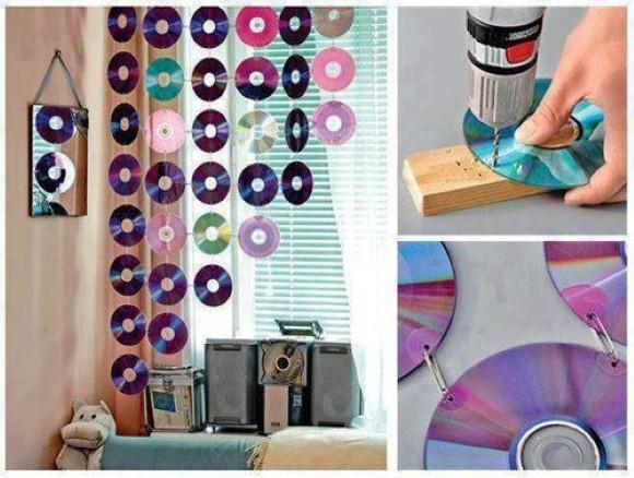 Cortina artesanal com CD
