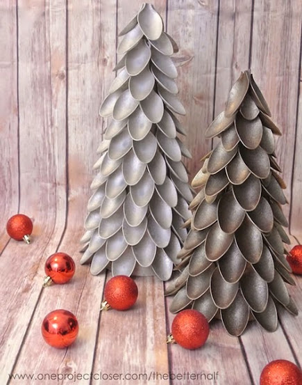 árvore de natal colheres de plástico