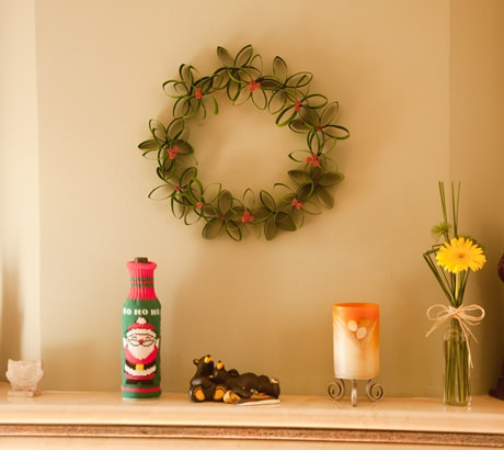Guirlanda de Natal com Rolos de Papelão