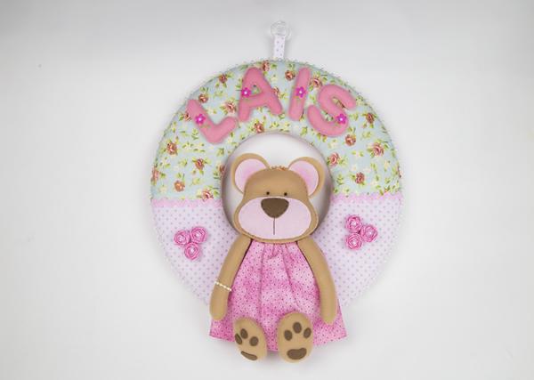 Guirlanda de Feltro ursinha cor de rosa