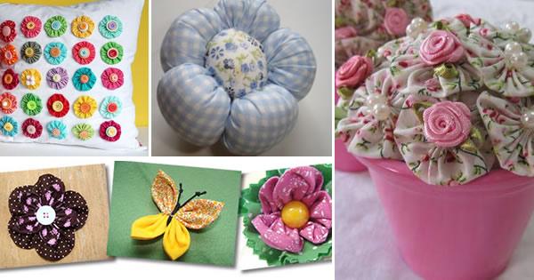 Artesanato Garrafa Pet Como Fazer ~ Flores de Fuxico Ideias Lindas e Criativas artesanato com