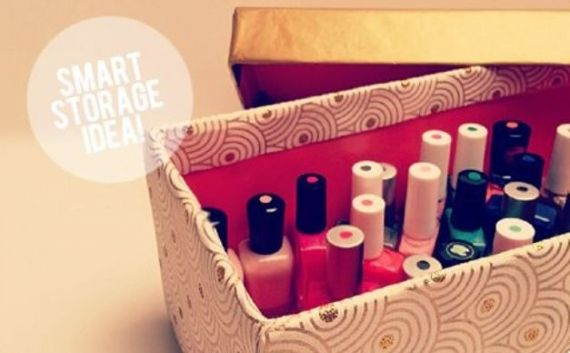 caixa para esmaltes feita com caixa de sapato