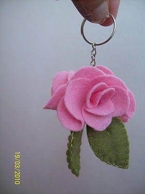 chaveiro de feltro - rosa