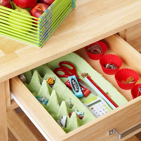 organizador para gavetas- artesanato com caixas de ovos