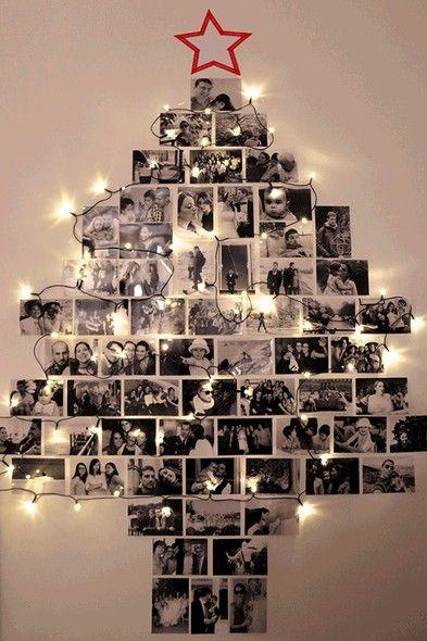 Árvore de Natal com fotos da família