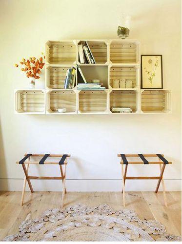 estante suspensa para livros - móvel de caixote