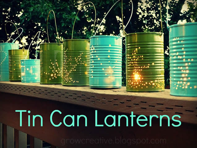lanterna com latas
