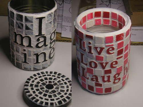 lata decorada com mosaico