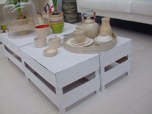 mesa de centro feita com caixotes