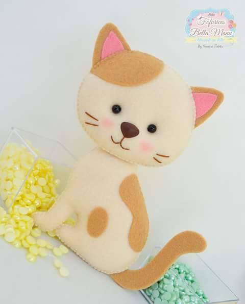 Adesivos Personalizados Infantil De Parede ~ 17 Modelos de Gato de Feltro com Molde artesanato com