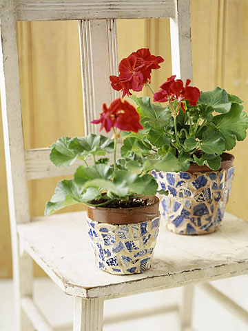 vaso de flores com mosaico