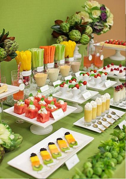 Enfeites de mesa com frutas