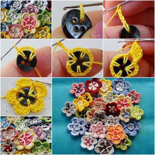 Flores de crochê com botão