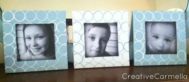 Porta retratos decorados com rolos de papel higiênico
