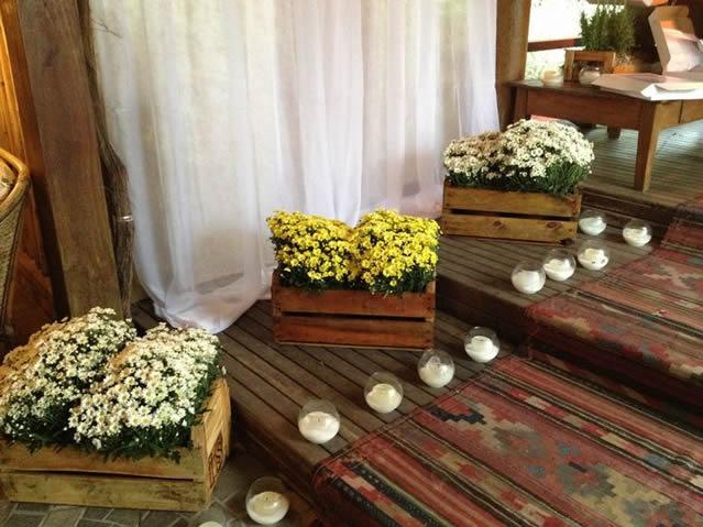 caixotes na decoracao de casamento rustico