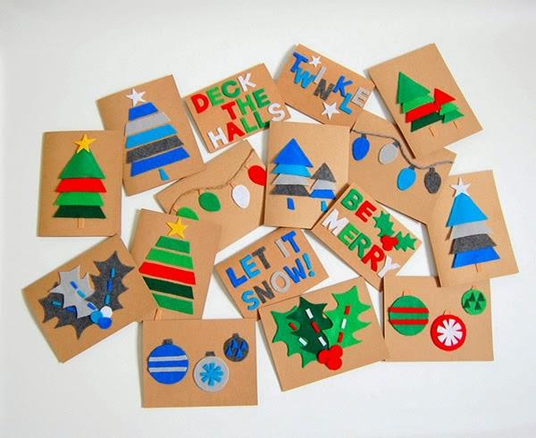 cartões de feltro - lembrancinhas de Natal
