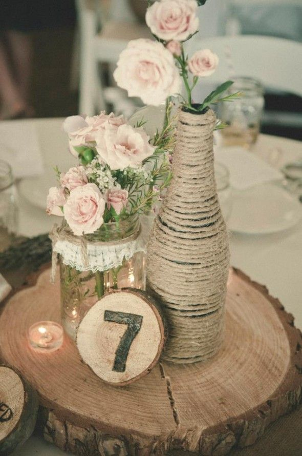 enfeite de mesa casamento rústico