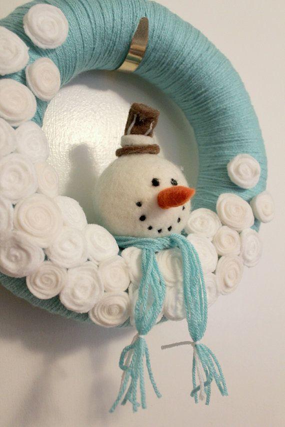 guirlanda de feltro boneco de neve