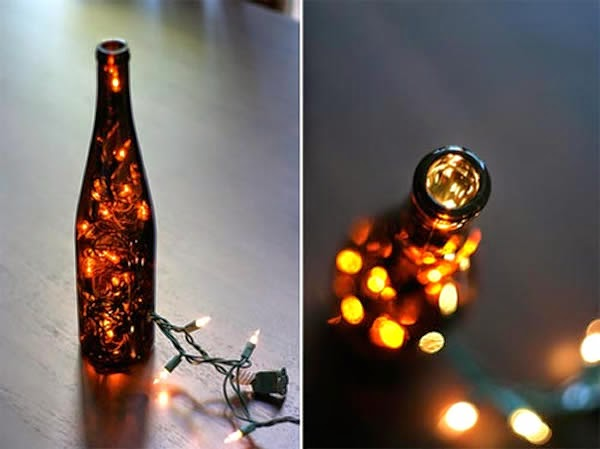 garrafa com pisca pisca - decoração de natal