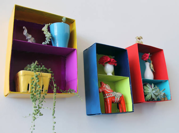 nichos com caixas de sapato