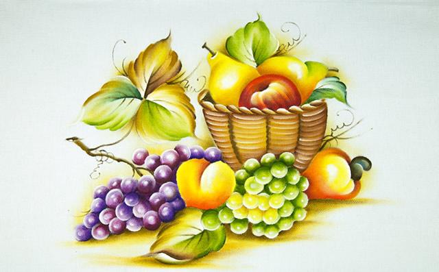 pintura em pano de prato frutas