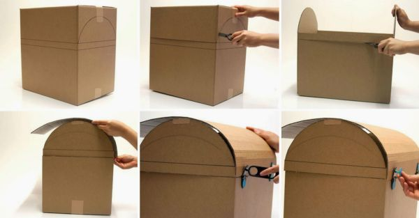 baú com caixa de papelão