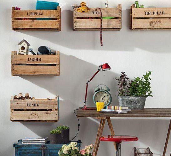 caixas organizadoras com caixote de madeira