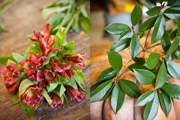 flores-e-folhagens-para-o-arranjo-de-mesa-de-casamento