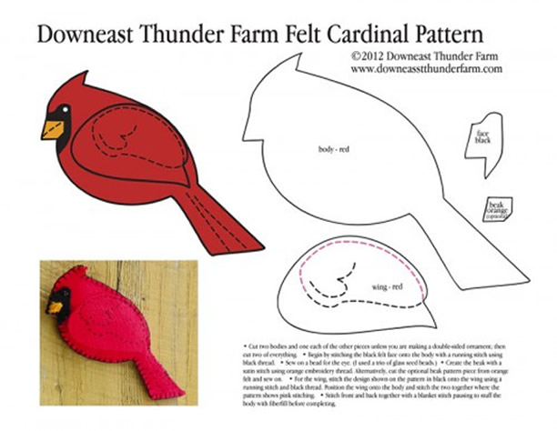 molde-passaro-vermelho-feltro