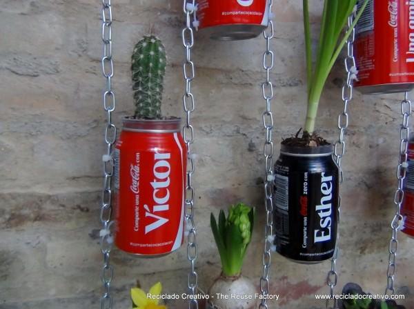 jardim-vertical artesanato com latinha de cerveja