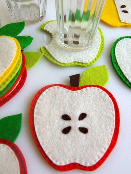 porta copos de maçãs